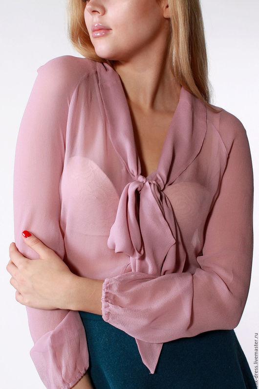 Блузки ручной работы. Ярмарка Мастеров - ручная работа. Купить Блузка из шифонового шелка с бантом. Блузка-ретро. Handmade.