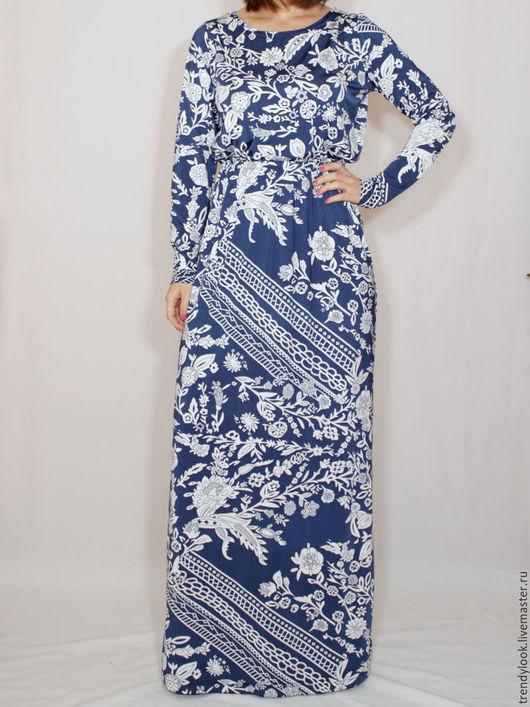 Платья ручной работы. Ярмарка Мастеров - ручная работа. Купить Сине-белое платье в цветах, платье в пол с длинным рукавом. Handmade.