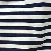 Ткани ручной работы. Ярмарка Мастеров - ручная работа Ткань хлопок   в т.синюю полоску .. Handmade.