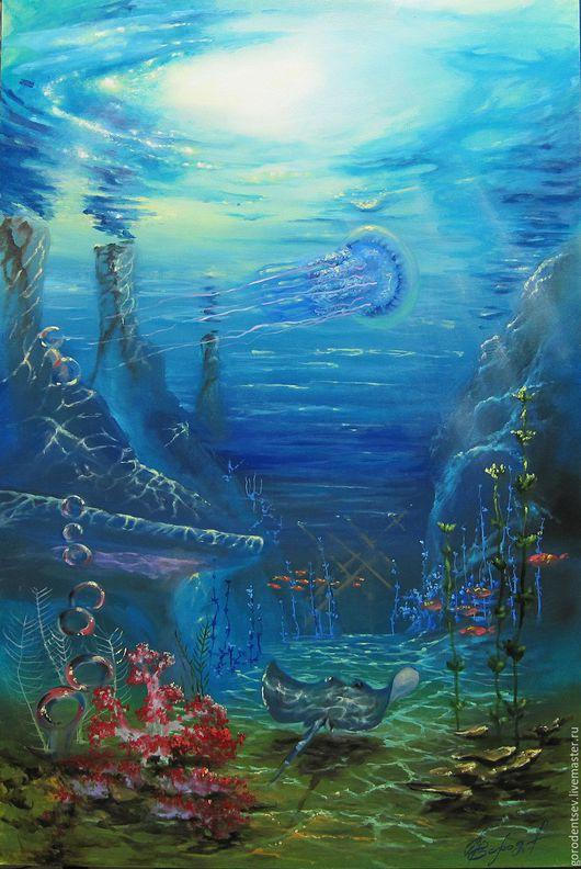 Пейзаж ручной работы. Ярмарка Мастеров - ручная работа. Купить Подводный мир Картина масляными красками, холст на подрамнике. Handmade.