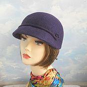 """Аксессуары handmade. Livemaster - original item peaked cap """"Night violet"""". Handmade."""