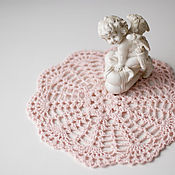 Для дома и интерьера ручной работы. Ярмарка Мастеров - ручная работа салфетка вязаная розовая №2. Handmade.
