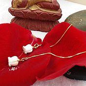 Украшения ручной работы. Ярмарка Мастеров - ручная работа Серьги Розы из серебра и керамики. Handmade.