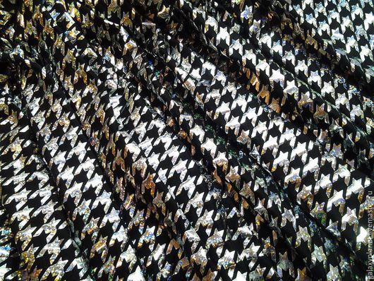 Шитье ручной работы. Ярмарка Мастеров - ручная работа. Купить Трикотаж голограмма черный/серебро нарядный. Handmade. Серебряный, нарядная ткань