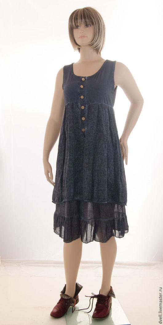 Большие размеры ручной работы. Ярмарка Мастеров - ручная работа. Купить Бохо платье туника Темно синея волна элегантная интересный цвет интере. Handmade.