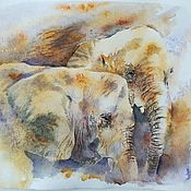 Картины и панно handmade. Livemaster - original item Somewhere in the Savannah watercolor Painting (brown gray elephants). Handmade.