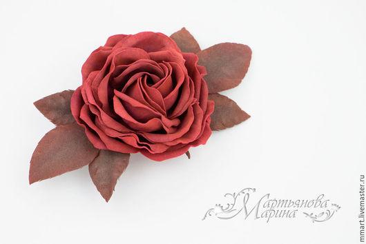 Броши ручной работы. Ярмарка Мастеров - ручная работа. Купить Брошь-зажим с цветком розы. Handmade. Марсала, ревелюр