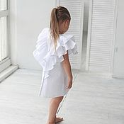 Платья ручной работы. Ярмарка Мастеров - ручная работа Хлопковое платье с крыльями белое. Handmade.