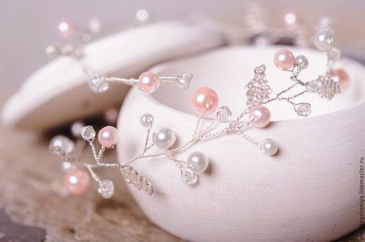 Свадебные украшения ручной работы. Ярмарка Мастеров - ручная работа. Купить Нежный венок-ободок для свадебной прически с белыми и розовыми бусинам. Handmade.