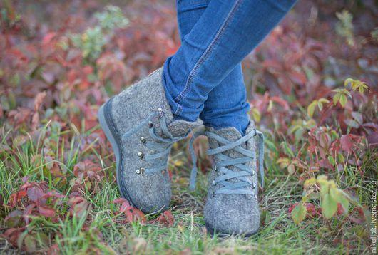 Обувь ручной работы. Ярмарка Мастеров - ручная работа. Купить Ботинки валяные Серые туманы. Handmade. Серый, валяная обувь