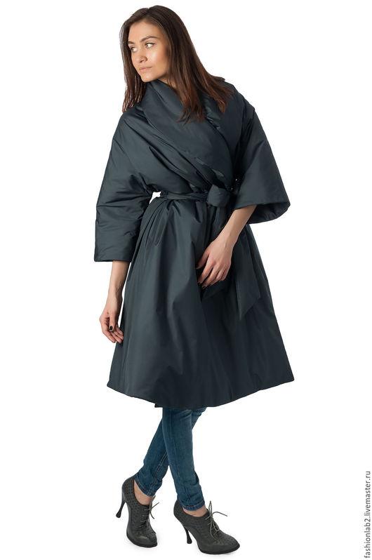 """Верхняя одежда ручной работы. Ярмарка Мастеров - ручная работа. Купить Утепленное пальто """"Графитовый цветок"""". Handmade. Темно-серый"""