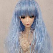 Материалы для творчества handmade. Livemaster - original item Doll wig, medium length, straight, blue. Handmade.