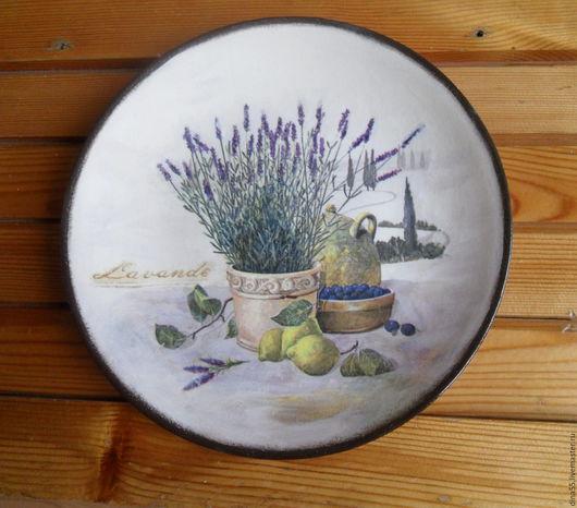 Картины цветов ручной работы. Ярмарка Мастеров - ручная работа. Купить Декоративная тарелка на стену  Утренняя лаванда. Handmade. Комбинированный