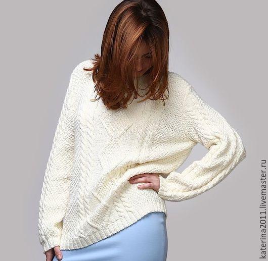 Кофты и свитера ручной работы. Ярмарка Мастеров - ручная работа. Купить Пуловер. Handmade. Белый, стильная одежда, голубая юбка