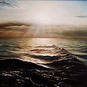 Картины и панно handmade. Livemaster - original item The author`s picture of the Sparkling Black sea. Handmade.