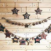Подарки к праздникам handmade. Livemaster - original item Garland wooden stars with animals. Handmade.