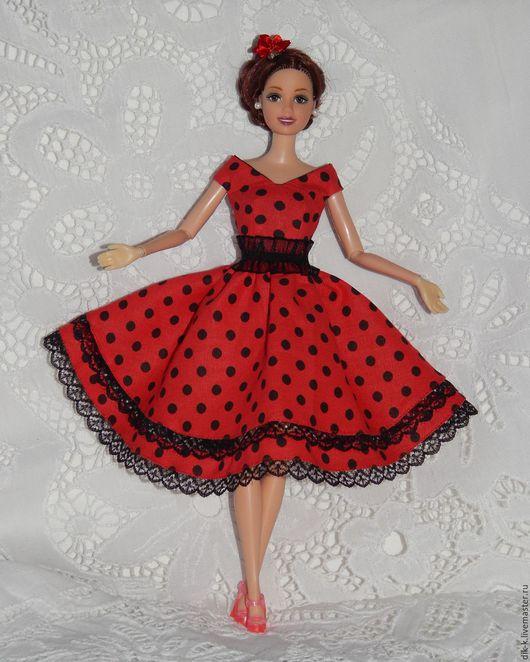 """Одежда для кукол ручной работы. Ярмарка Мастеров - ручная работа. Купить Платье для Барби """"Кармен"""". Handmade. Ярко-красный, кружево"""