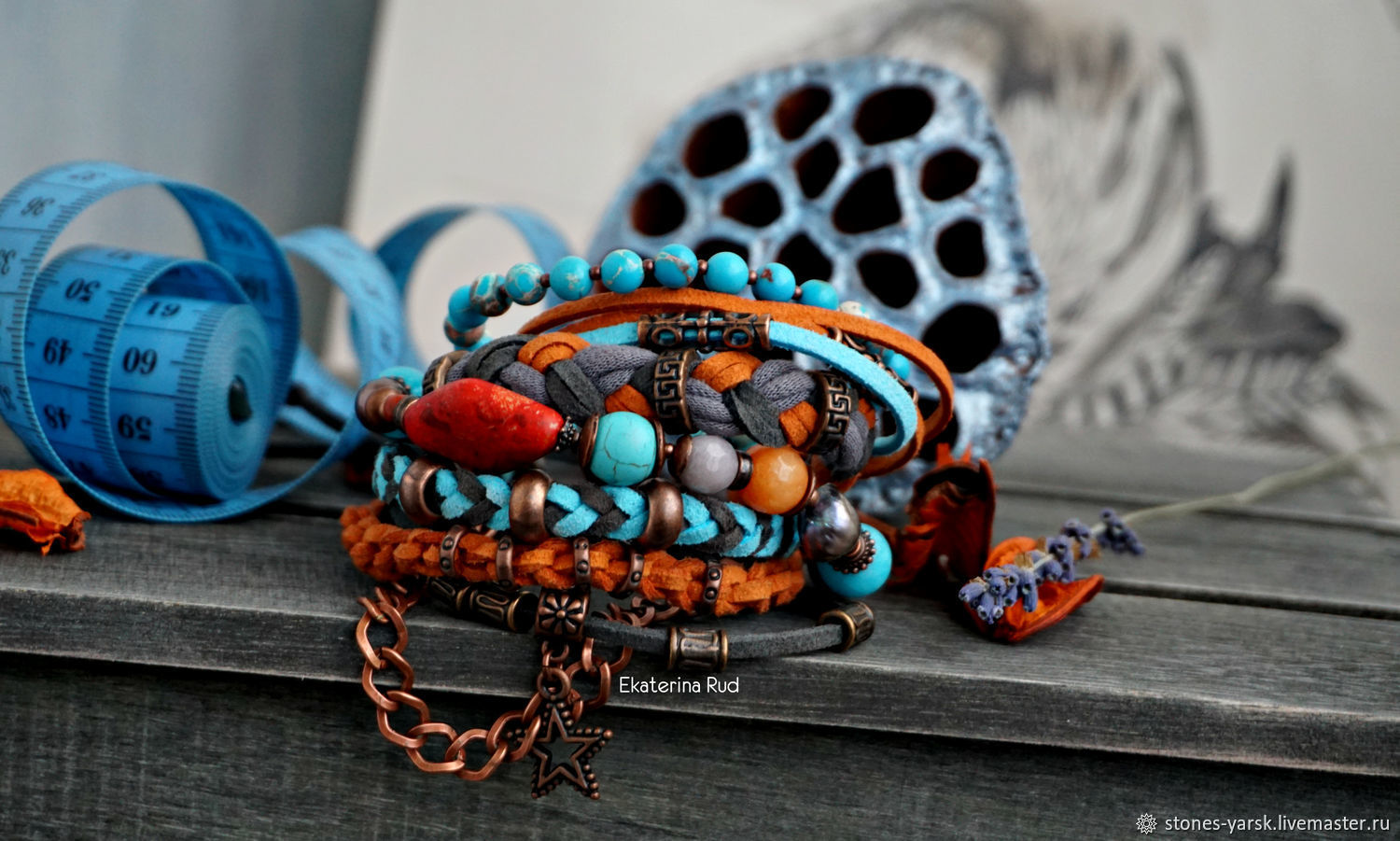 Bracelet BOHO chic with the beautiful stones of the 'Heavenly-spicy', Bead bracelet, Moscow,  Фото №1