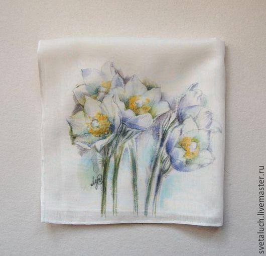 Носовые платочки ручной работы. Ярмарка Мастеров - ручная работа. Купить Взывает к нежности Весна.... Handmade. Комбинированный, цветы, аромат