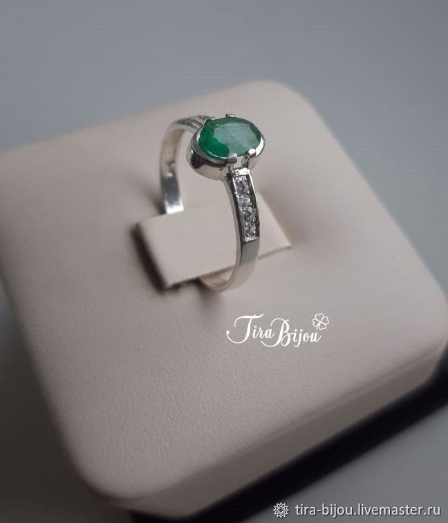 Ring: Silver ring with emerald, Rings, Moscow,  Фото №1