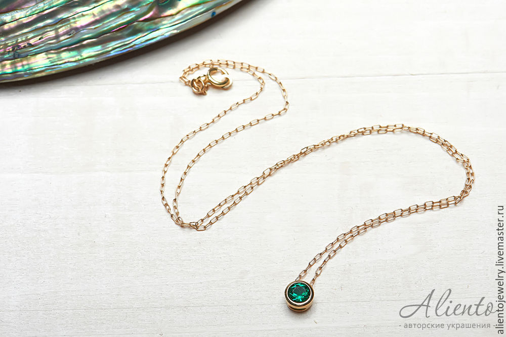 Thin necklace 'Conciseness' from Goldfield with green zircon, Chain, Moscow,  Фото №1