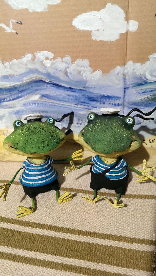 Игрушки животные, ручной работы. Ярмарка Мастеров - ручная работа. Купить Лягушата -мореплаватели). Handmade. Зеленый, море, интерьерная игрушка