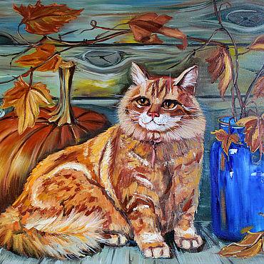 Картины и панно ручной работы. Ярмарка Мастеров - ручная работа Картина рыжий кот маслом на холсте. Handmade.