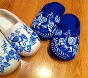 """Обувь ручной работы. Ярмарка Мастеров - ручная работа Тапочки """"Гжель"""" мужские, женские. Handmade."""
