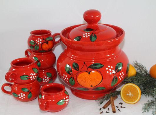 Винтажная посуда. Ярмарка Мастеров - ручная работа. Купить Набор для глинтвейна/пунша/крюшона. Handmade. Ярко-красный, рождественский декор