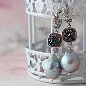 Украшения handmade. Livemaster - original item Earrings with natural pearls Kasumi and druzei