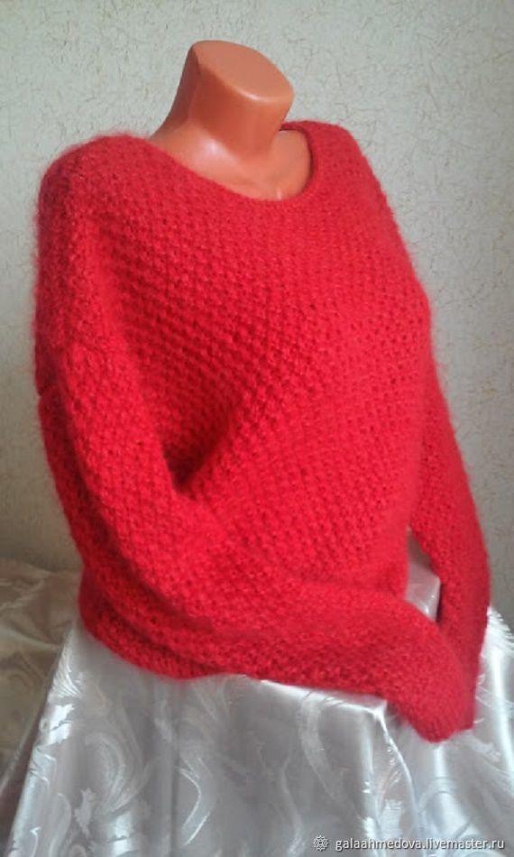 Теплый красный пушистый свитер ручной работы, Свитеры, Дмитров, Фото №1