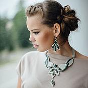 Украшения handmade. Livemaster - original item Jewelry set made of genuine leather Jade. Jewelry with jade. Handmade.