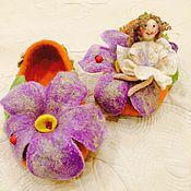 """Обувь ручной работы. Ярмарка Мастеров - ручная работа Тапки женские валяные """"Маленькая принцесса"""". Домашние тапочки. Handmade."""