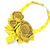 Украшения handmade. Livemaster - original item Leather Necklace Rose dance Yellow Leather decoration handmade Flowers. Handmade.