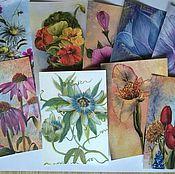 """Открытки ручной работы. Ярмарка Мастеров - ручная работа набор почтовых открыток """"Цветы"""". Handmade."""