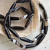 Бусины ручной работы. Ярмарка Мастеров - ручная работа Агат черный бусина вытянутая 25х6 мм. Handmade.