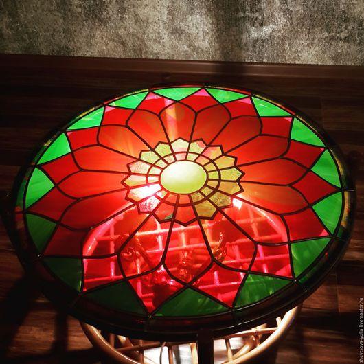 Мебель ручной работы. Ярмарка Мастеров - ручная работа. Купить Витражной столик из ротанга. Handmade. Ярко-красный, ротанг, Витраж