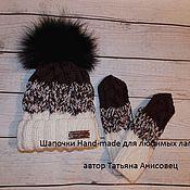 Аксессуары ручной работы. Ярмарка Мастеров - ручная работа Шапочка в технике градиент ,с натуральным меховым помпоном-енот черный. Handmade.