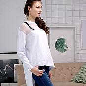 Футболки ручной работы. Ярмарка Мастеров - ручная работа Белая женская футболка с асимметричным низом, асимметричная футболка. Handmade.