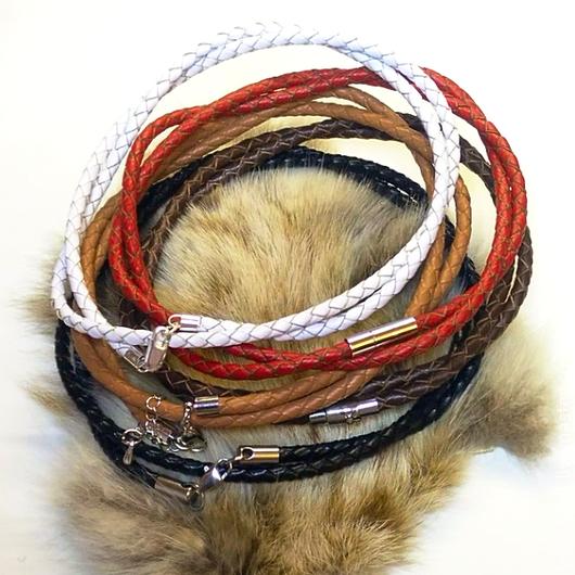 Подарки для мужчин, ручной работы. Ярмарка Мастеров - ручная работа. Купить Шнур 4 мм. кожаный плетёный серебро. Handmade.