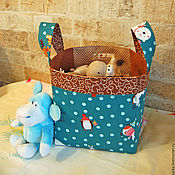 Для дома и интерьера ручной работы. Ярмарка Мастеров - ручная работа Корзина текстильная для игрушек. Handmade.