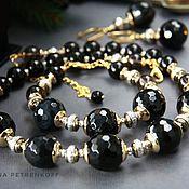 "handmade. Livemaster - original item Колье ""Жозефина"" черный агат, раухтопаз, оникс, позолота.. Handmade."