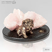 Подарки к праздникам handmade. Livemaster - original item Bronze dog breed Bulldog with pink calcite. Handmade.
