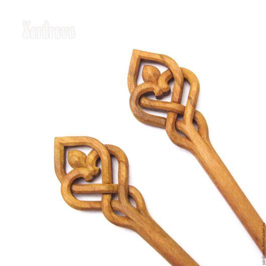 Заколки ручной работы. Ярмарка Мастеров - ручная работа. Купить Шпильки из дерева резные (Слива). Handmade. Бежевый, резьба по дереву