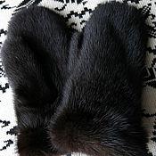 """Аксессуары ручной работы. Ярмарка Мастеров - ручная работа Норковые варежки темно-коричневые 2 """"модель 1"""". Handmade."""