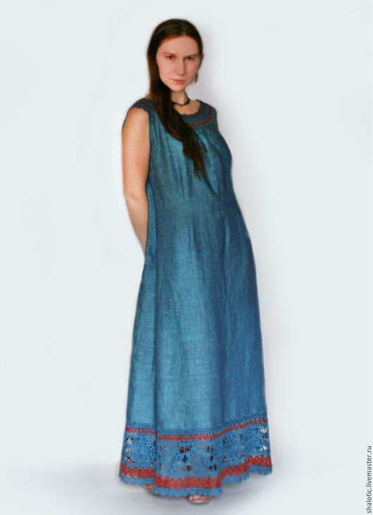 Льняное платье, платье цвета морской волны, летний сарафан, льняные платья и сарафаны в бохо стиле, платье с кружевом, автор Юлия Льняная сказка