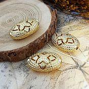 Материалы для творчества handmade. Livemaster - original item Oval bead 18x12x7.5. 4007 mm gold (). Handmade.