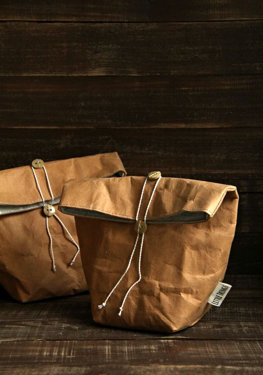 Корзины, коробы ручной работы. Ярмарка Мастеров - ручная работа. Купить Пакет для ланча (из моющейся крафт-бумаги). Handmade.