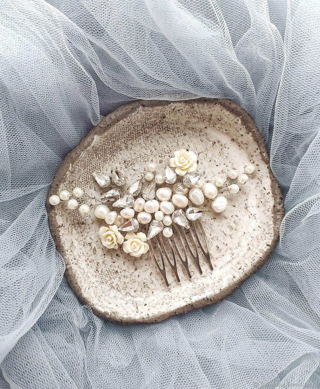 Свадебные украшения ручной работы. Ярмарка Мастеров - ручная работа. Купить Свадебный гребень для волос. Handmade. Белый, заколка для волос