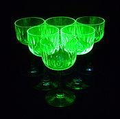 Винтаж handmade. Livemaster - original item GLASSES. Set of 6 pieces. Colored URANIUM glass. Hand carved. Handmade.